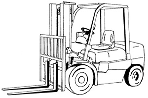 Illustration of a vehicle with wheels and an open cabin where an operator sits. At the front it has two large horizontal arms or tines that can be used to lift and move items that are on a pallet