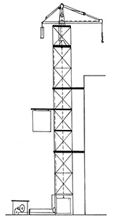 Illustration of a framework tower structure, with has an extended horizontal arm at its top. From this arm is a hook that is used to lift and move items