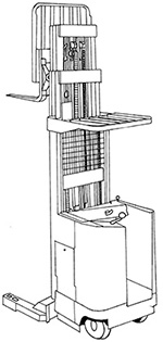 Illustration of a machine that has wheels and an open platform where an operator stands. In front of this is an extended structure known as a mast. This structure has two horizontal arms or tines that can be used to lift and move items