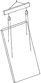 Illustration of a steel bar with hooks and slings attached to a slab of concrete