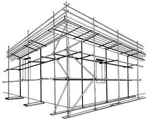 Illustration of a framework structure made of horizontal, vertical and diagonal steel tubes as struts and supports attached to bases. Horizontal planks form a platform that a person can work from