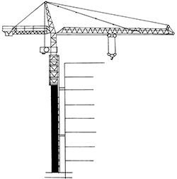 Illustration of a vertical tower made of steel cross members with a long mechanical arm that has a hook attached to enable lifting items