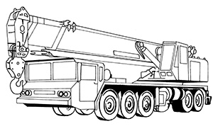 Illustration of a truck with many wheels and a low cabin at the rear, and a large steel arm at the front. At the end of the arm is a hook which can be attached to items for lifting