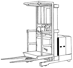 Illustration of a machine that has wheels and an open platform that an operator stands on. From this platform are two horizontal arms or tines that can be used to lift and move items