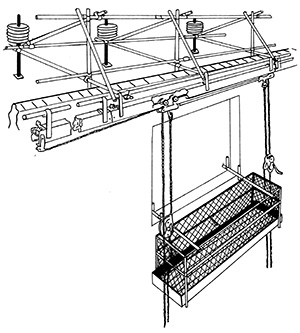 Illustration of a complex system of struts and supports that attach to a wall or similar structure. A caged platform is hanging form this that a person can work from