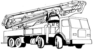 Illustration of a truck with wheels and a cabin. It has a large steel tube arm that is folded onto itself on the tray of the truck.