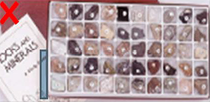 "This image shows a tray divided into multiple compartments, each with a lump of mineral. There is a booklet in the background with the words ""Rocks and minerals"" printed on it."