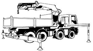 Illustration of a truck with a tray body. There are metal beams and legs around the truck which are supporting the truck. A mechanical steel arm is attached to the tray of the truck which has a hook attached to lift items