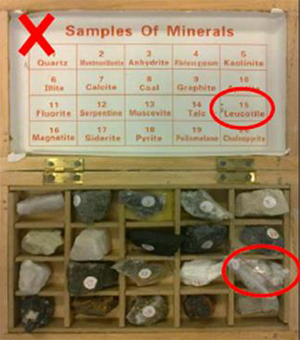 This image shows an open box divided into multiple compartments, each with a lump of mineral. There is a label naming each mineral on the box's open lid.