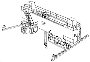 Illustration of a horizontal platform and rails that includes two overhead runways which are attached to a buildings structure. A wire and hook is attached to the horizontal platform to lift items