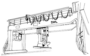 Illustration of a horizontal metal beam with supports at either end so it forms a bridge. The supports are attached at ground level with a lifting mechanism attached to the bridge that can lift items