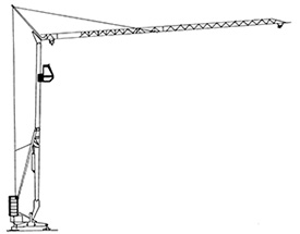 Illustration of a vertical steel pole with a mechanical arm attached at the top which is extended outwards that can lift items from a hook