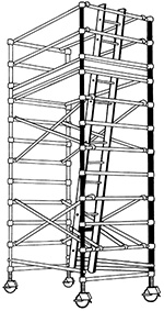 Illustration of framework erected into a tower structure made of horizontal and vertical steel tubes as struts and supports. It has lockable wheels on each of the four legs. There is a ladder that a person can climb to access a platform to work from higher levels