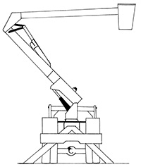 Illustration of a large steel arm structure that is attached to a truck with wheels and is supported by legs. The arm is hinged and can fold in the middle. At the end of this folded arm is a bucket from which a person can work or materials can be lifted up in