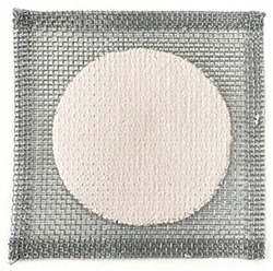 This image shows a grey square made of woven mesh with a white painted circle in the centre